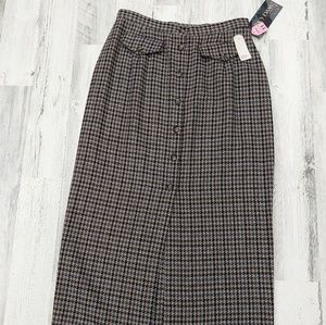 Vintage 90s Deadstock Plaid Button Pencil  Skirt